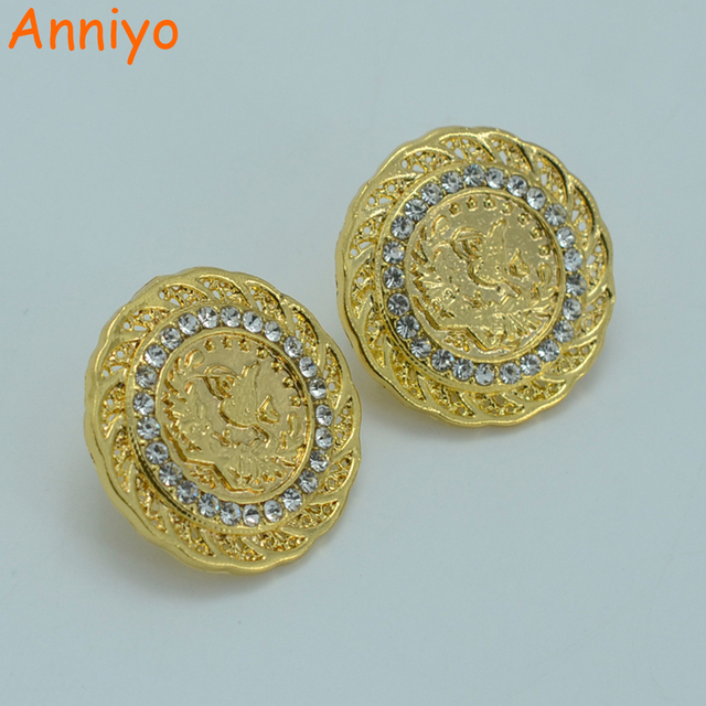 Anniyo Arab Coin Earring For Women Gold Color Turks Bride Wedding
