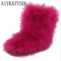 Winter Women Genuine Real Hairy Ostrich Feather Furry Fur Flats Snow Boots Plush Fuzzy Warm Ski