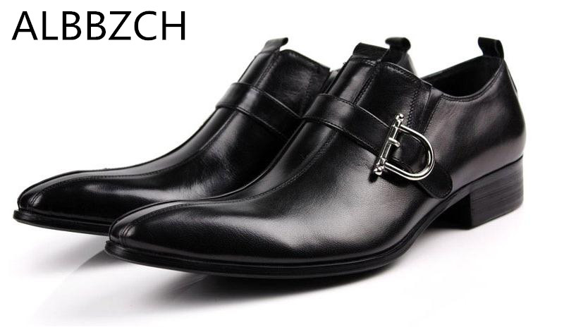 Genuine leather men shoes fashion buckle pointed toe mens business dress shoes high quality black brown wedding shoes work shoesGenuine leather men shoes fashion buckle pointed toe mens business dress shoes high quality black brown wedding shoes work shoes