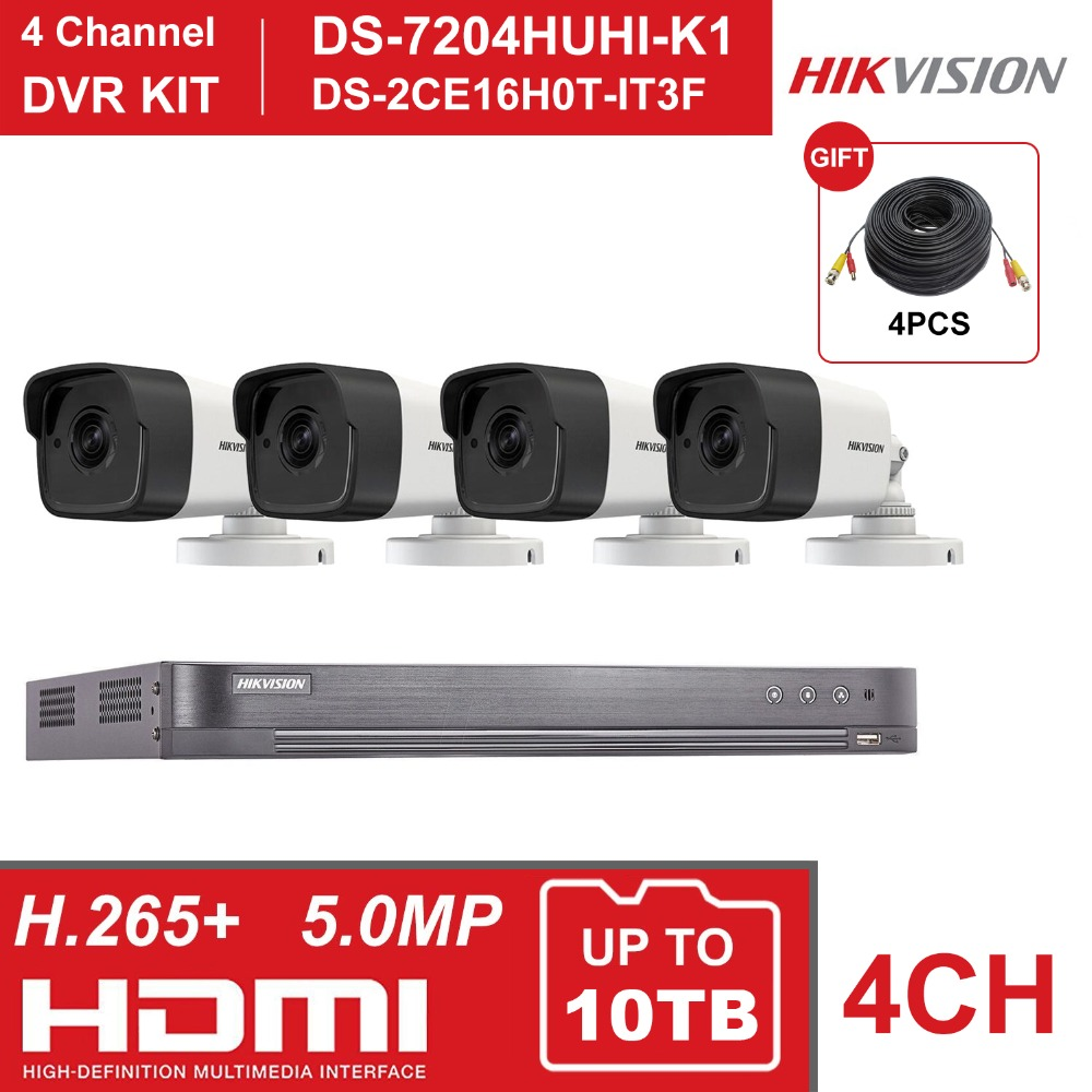 HIK 4CH DVR KIT Hybrid 4 Channel Surveillance Video Recorder DS 7204HUHI K1 5MP Bullet Security