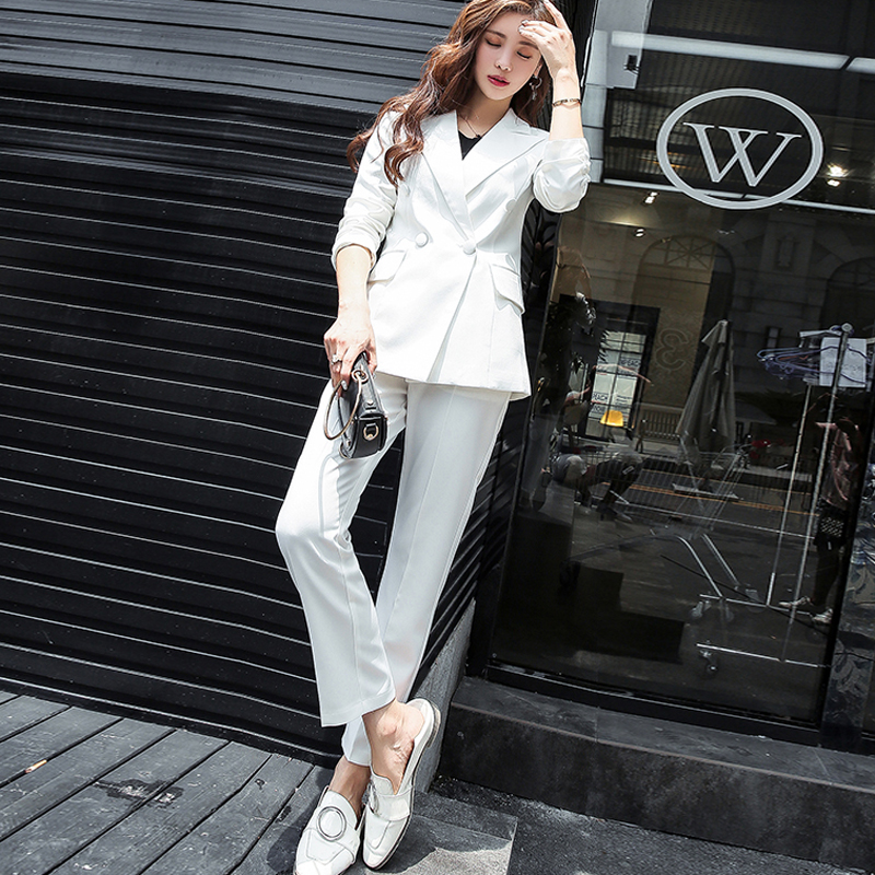 Double Breasted White Women Classic Pant Suits Notched Collar Blazer Jacket & Straight Pants Office Ladies Female Sets