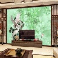 photo wallpaper 3D jade white crane wallpaper lobby porch bedroom living room hotel coffee shop wallpaper mural