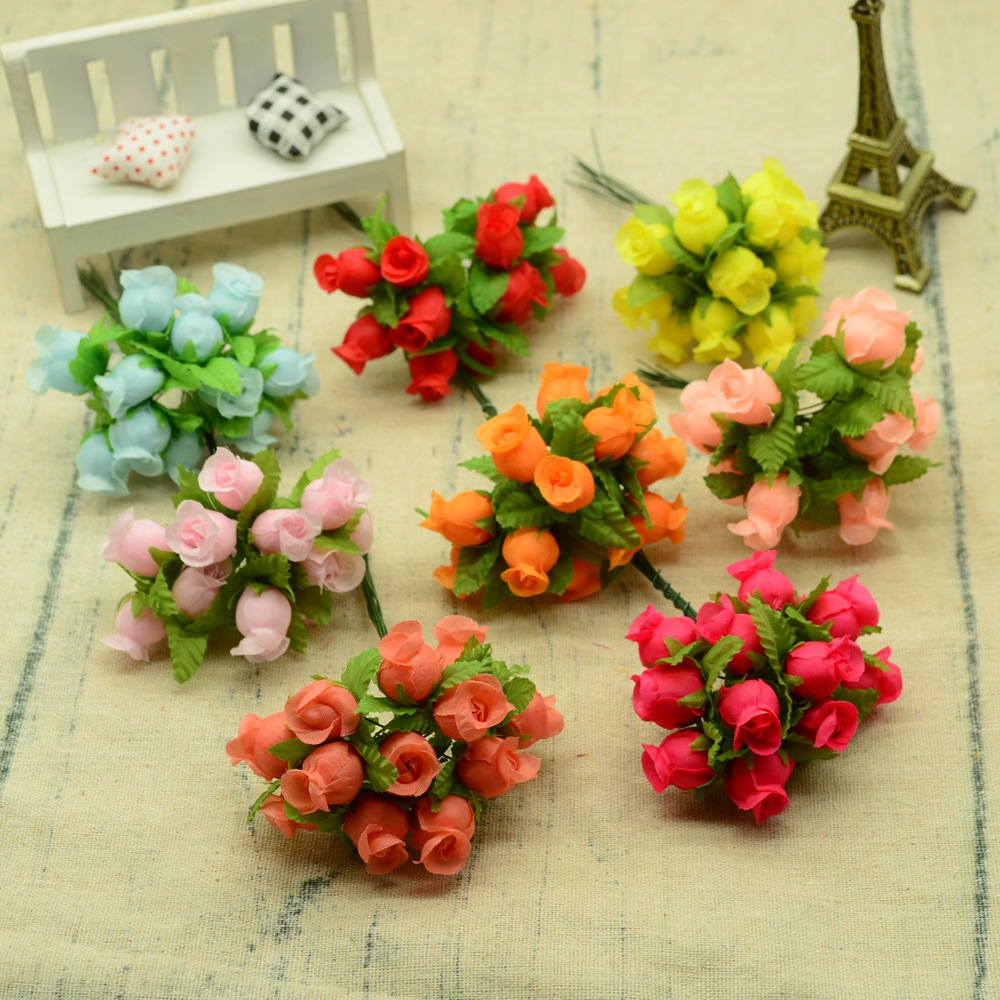 12pcs Silk roses bouquet diy christmas Garlands vases for home wedding decoration accessories cheap artificial plastic flowers(China)