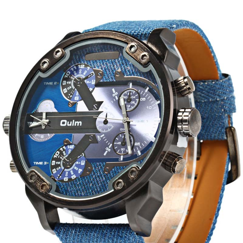 Fashion Designer  Mens dress Watches Top Brand Luxury Quartz Watch Oulm Leather Strap Big Face Military Clock relogio masculino oulm top luxury brand watches men leather strap big dial quartz clock male watch military wrist watch relogio masculino