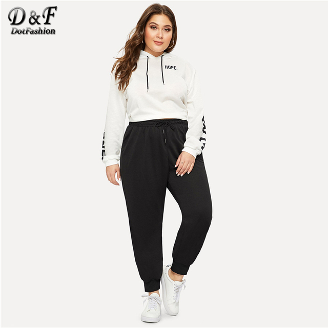 Dotfashion Plus Size Black Drawstring Waist Solid Pants Women Casual Streetwear Sweatpants 2019 Autumn Fashion Long Trousers 4