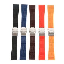 18mm, 20mm, 22mm, 24mm New Silicone Rubber Watch Strap Band Deployment Buckle Waterproof BLack Fashion Watchband 5 colors