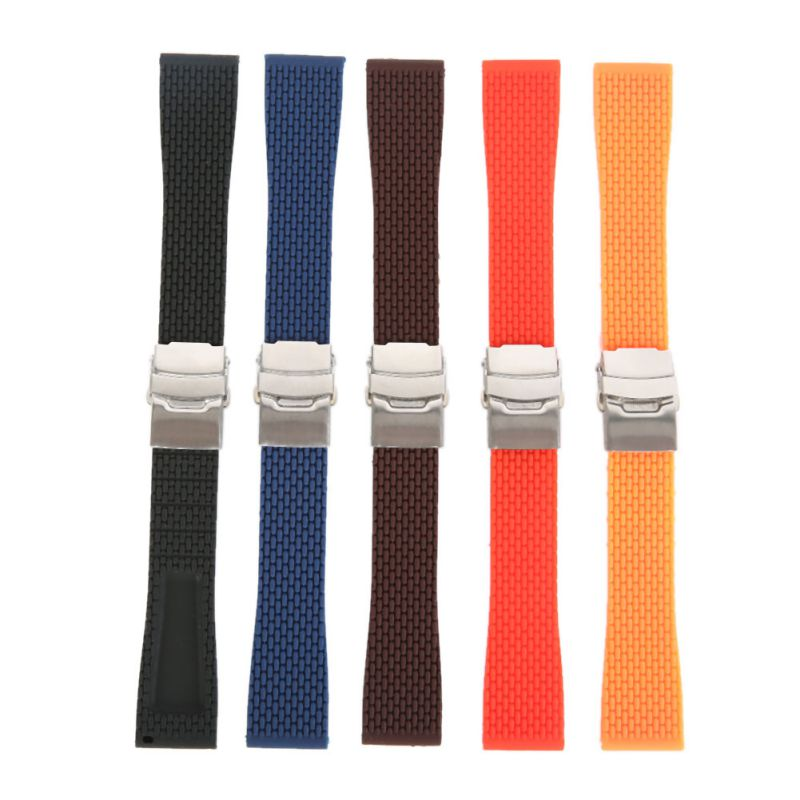 18mm, 20mm, 22mm, 24mm New Silicone Rubber Watch Strap Band Deployment Buckle Waterproof BLack Fashion Watchband 5 colors black blue gray red 18mm 20mm 22mm waterproof silicone watchband replacement sport ourdoor with pin buckle diving rubber strap