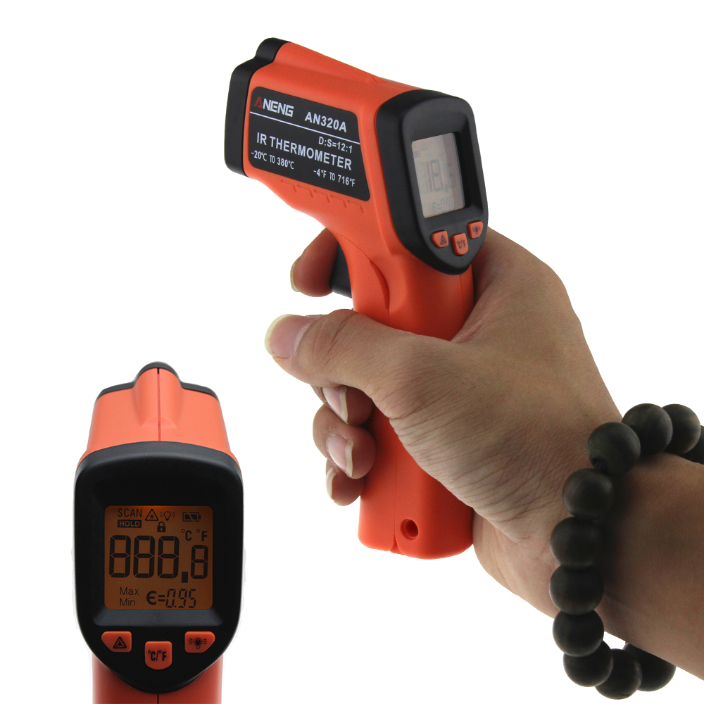 ANENG LCD Digital IR Infrared Thermometer AN320A GM320 Laser Temperature Meter Gun Point -50~380 Degree Non-Contact Thermometer