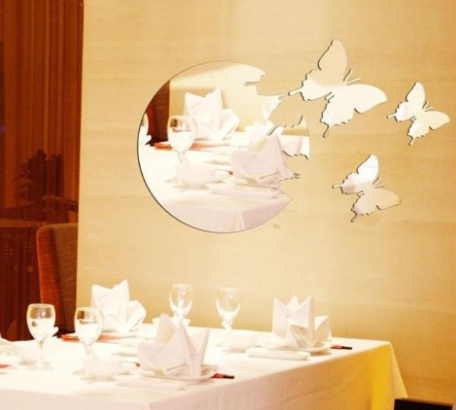 Free shipping removeable round cut out butterfly wall mirror sticker ...