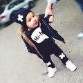2017 Горячие продаем детские мальчик девочка одежда Мода черный С Длинным рукавом майка + брюки 2 шт. костюм новорожденных одежда детская одежда младенческой
