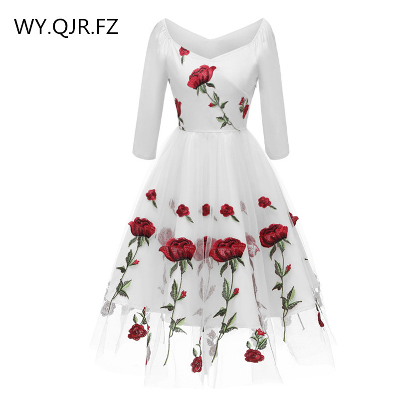 CD1657B#Lace Embroidery White Black Short Evening Dresses Classmate Party Dress Gown Prom Wholesale Fashion Women Clothing China