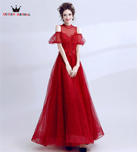 QUEEN BRIDAL Evening Dresses High Neck Tulle Lace Long Formal Red Women Bride Eveving Gowns Party Dress Vestido De Festa LS43(China)