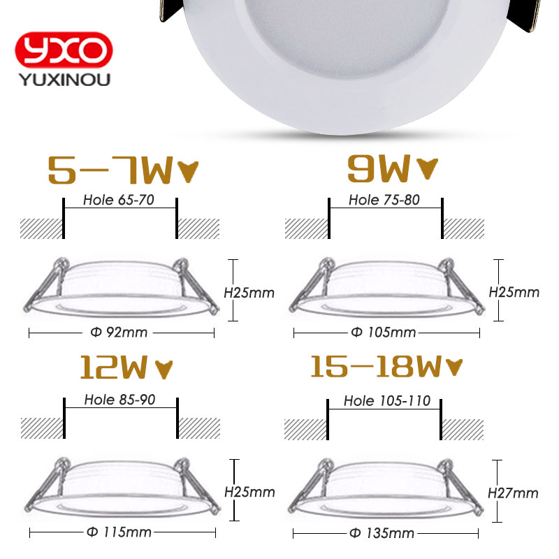 1 unids regulable impermeable LED Downlight AC110V 220V 7W / 9W / 12W - Iluminación interior - foto 4