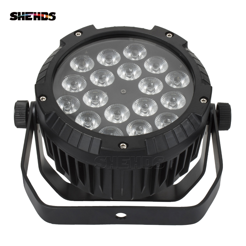 10PCS Waterproof LED Flat Par 18x12W RGBW DMX512 Stage Effect Lighting For Outdoor Swimming Pool DJ Disco Party Bar Nightclub