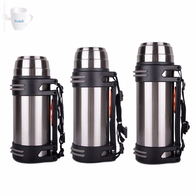 6a90fb70a7 2L 1.6L 1.2L Portable Stainless Steel Sports Bottle Travel Thermos Flask  Double Walled Stainless Steel Vacuum Insulated Flask