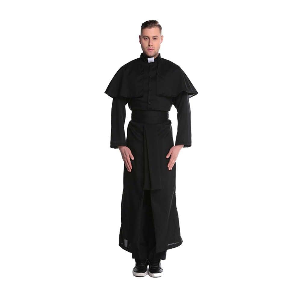 Pastor do dia das bruxas masculino feminino role-playing terno casal cosplay traje freiras padre vestido mulheres encenar fantasias