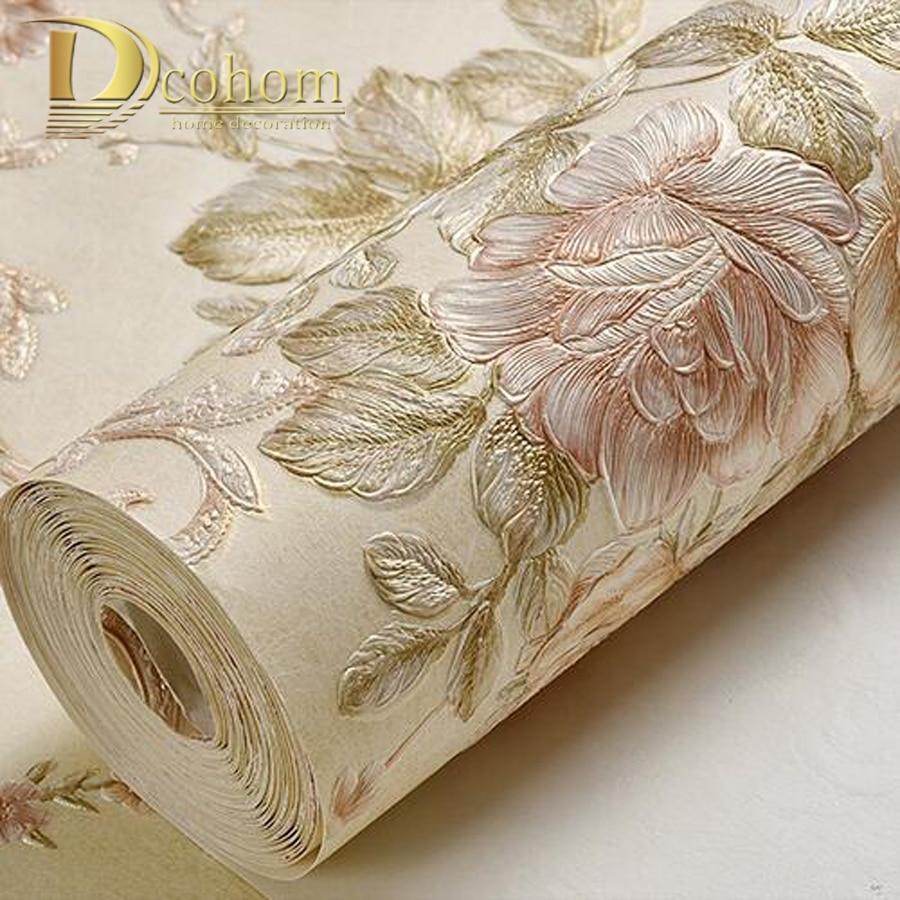 American luxury European floral wallpaper Luxury Rose flowers background wallpaper For bedroom modern Vintage Wall Paper 2015 new brand 5m roll victorian country style for floral flowers background wallpaper