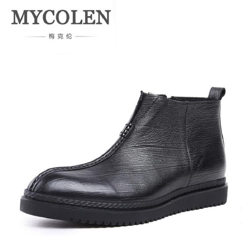 MYCOLEN Handmade Men Boots Autumn Natural Leather Shoes Men Winter Safety Working Boots Zapatos Hombre botas masculinas mycolen new autumn winter men black casual shoes men high tops fashion hip hop shoes zapatos de hombre leisure male botas