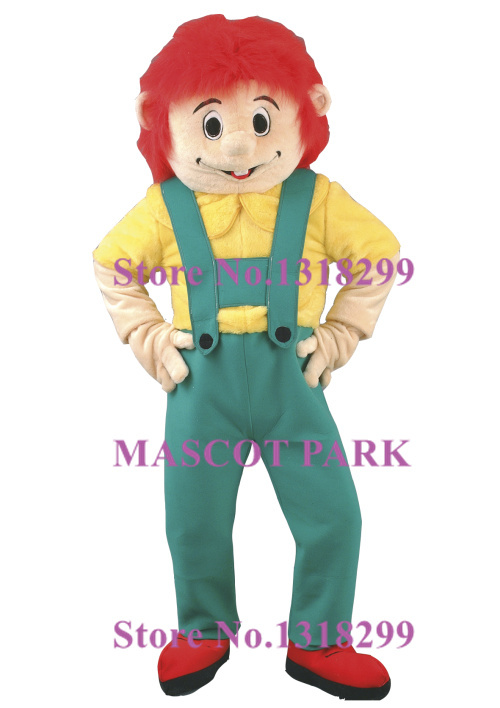 Fire Red Hair Handyman Mascot Adult Costume with yellow coat and Blue suspender trousers High quality mascotte fancy dress kits