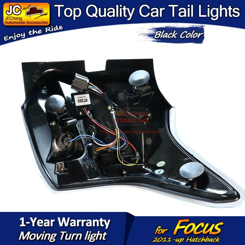 Для Ford Hatchback Focus черный корпус светодиодный задний фонарь в сборе подходит для автомобилей на 2011 год с последовательным индикатором простая ... - 5