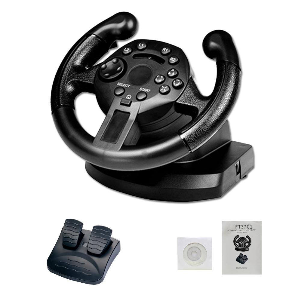 Gamepad Vibration Game Steering Wheel 90 Degree Rotation Game Racing Steering Wheel Compatible PS3/PC D-INPUT/X-INPUT Simulated image