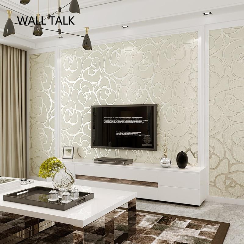 Daim fleurs Papel De Parede 3D flocage papier peint pour chambre salon TV fond décoration De la maison 3D papier peint rouleau