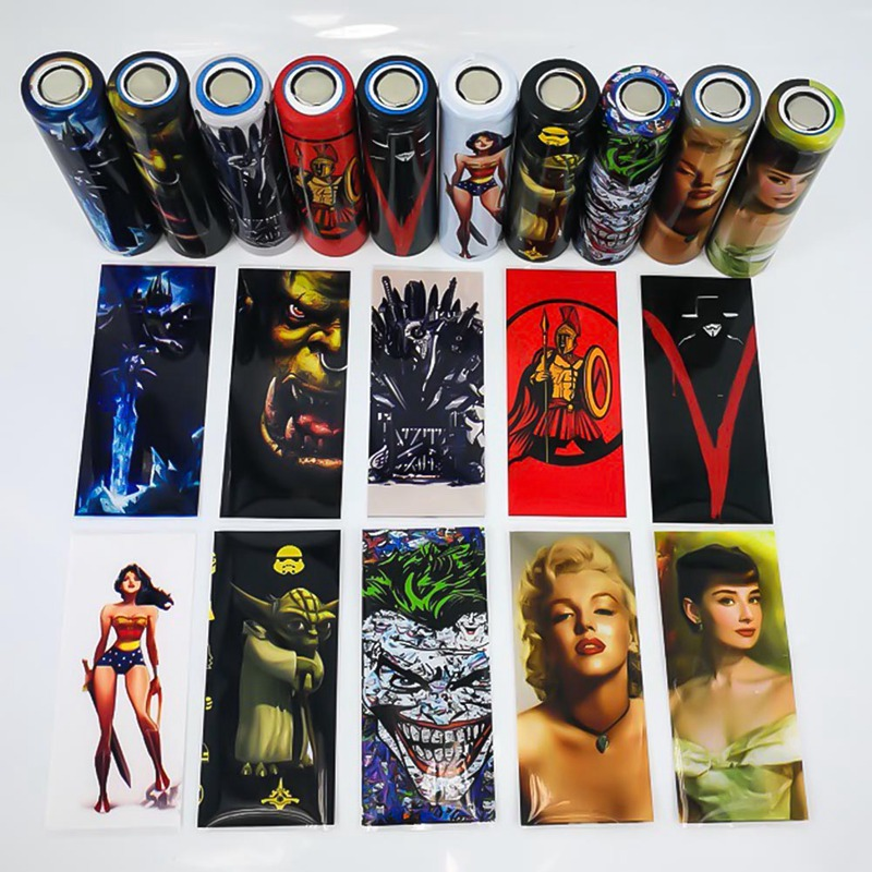 10pcs/pack PVC 18650 Battry Wrap 18650 Battery Sticker Protective Skin For Battery Movie Star Series Mixed Color