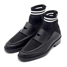 2018 Fall Winter New Short Sock Fabric Strech Full Grain Leather Ladies Martin Boots Women