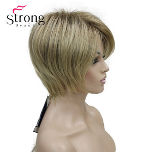 Image 3 - StrongBeauty peluca sintética de capas cortas, color rubio grueso, esponjoso, opciones de color