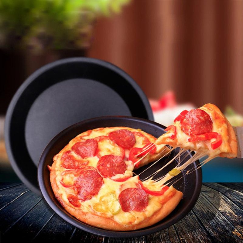 6/9 Inch Round Pizza Baking Pan BBQ Carbon Steel Non-Stick Oven Pizza Plate Dish Barbequ ...