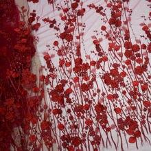 Burgund handmade 3d blumen bestickt appliziert französisch spitze stoff für brautkleid HY0411