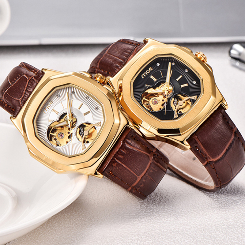 2018 Fashion Man Woman Watch Mechanical automatic movement Wristwatch Brown Leather Band Female Mechanical Watch Relogio