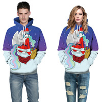 Blue White Patchwork Santa Claus Rainbow Unicorn Pullovers Broadcloth Cotton Polyester Loose Casual Hoodies Sweatshirt