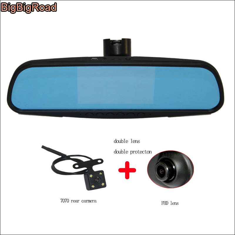 BigBigRoad For Peugeot 3008 2015 Car Blue Screen front mirror DVR + rear view camera video recorder dashcam parking monitor bigbigroad for peugeot 3008 app control car wifi dvr dual camera video recorder night vision car black box wdr car dash camera