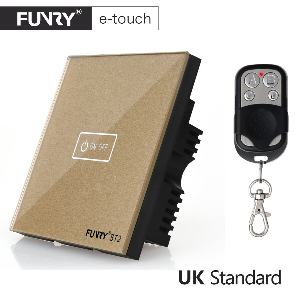 FUNRY UK Standard Wireless Switch, Crystal Glass Panel,1 Gang 1 way, Smart Home Remote Control Touch Switch,AC 110-250V funry eu uk standard 1 gang 1 way led light wall switch crystal glass panel touch switch wireless remote control light switches