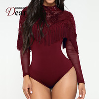 Comeondear Mesh Long Sleeve Bodysuit Sequin Tassel Womens Rompers Turtleneck See Through Body Femme Sexy Body Suits RA80787