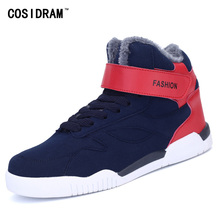 New 2016 Winter PU Leather Casual Shoes Warm Plush High Top Men Shoes Lace-Up Rubber Fashion Platform Male Footwear RME-174