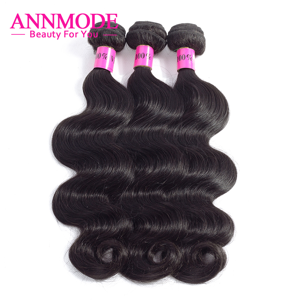 ANNMODE Hair Brazilian Body Wave Hair 3 Pcs Human Hair Bundles Non-Remy Hair Extention Natural Color 10-28 inch ...
