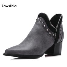 29bf2af592ce7 ZawsThia pointed toe PU zipper rivet motorcyle boots thick high heels  charcoal grey women shoes studded ankle boots big size 42