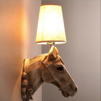 Industrial Home Decor Horsehead Resin Wall Lamp Fixtures Bedroom Lighting Bulb