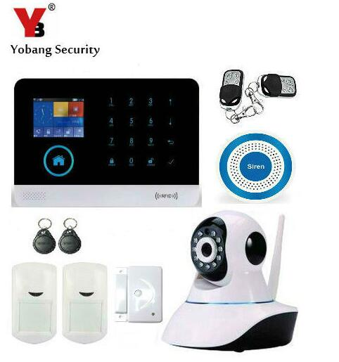 Yobang Security  IOS Android APP WIFI 3G SMS Alarm System With IP Camera Security Monitoring Auto Dial Wireless Flash Siren