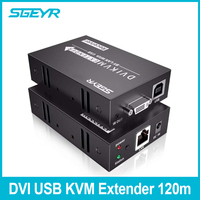 395ft DVI USB KVM Extender by RJ45 Cat5e/6 SGEYR 120m DVI KVM Extender 1080P 3D Keyboard Mouse IR Transmitter+Receiver