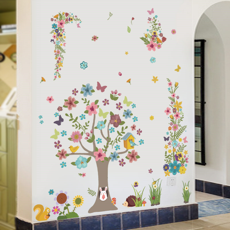 Forest Tree Flower Butterfly Animals Wall Stickers Mural Art Home Decals  Kids Living Room Bedroom Decor Wedding Decoration