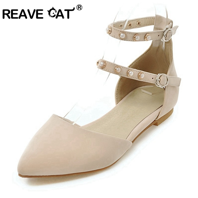 c4df6a052d9 REAVE CAT Women Shoes Stylish Pearl Flat Shoes Women Buckle Flock Heels Ladies  Shoes Flats Footwear Pointed Zapatos Mujer A565