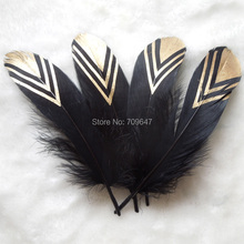 Natural Black Goose Nagorie feathers with Gold Dipped Painting,real goose painted feathers 12-18cm long 50pcs/lot цена