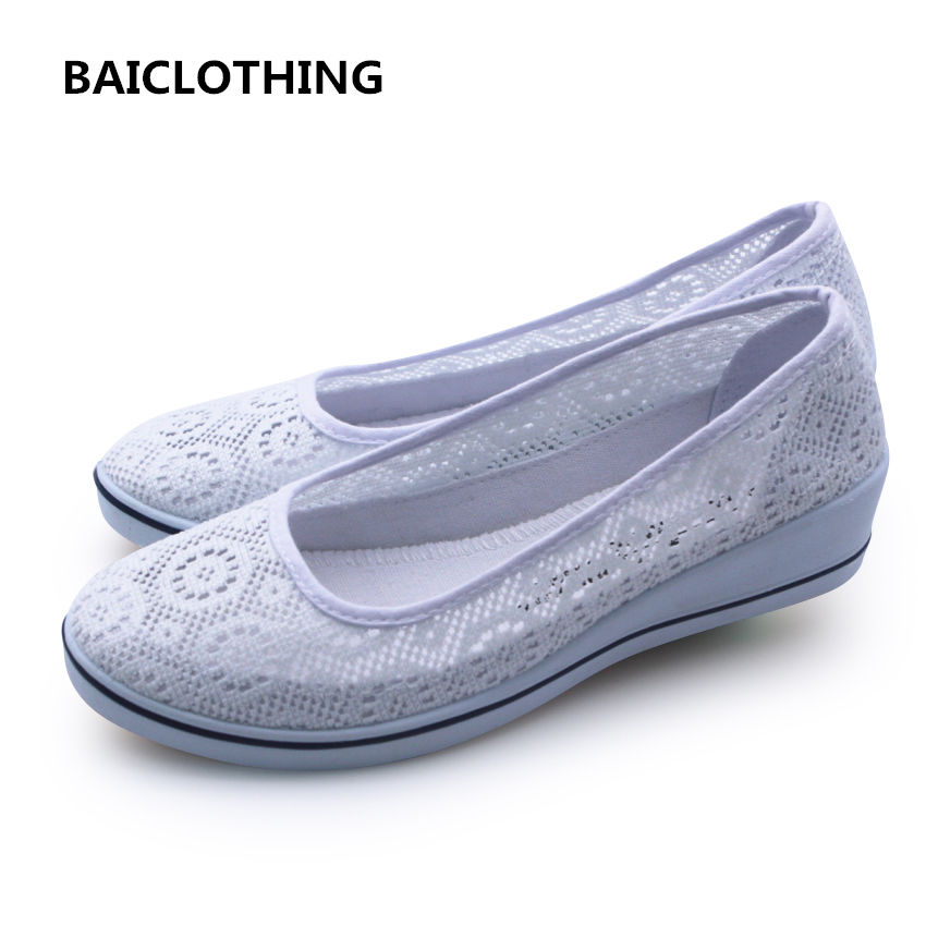 BAICLOTHING women white floral breathable mesh shoes lady cute work and nurse shoes lady casual hollow out shoes zapatos mujer lolita style white hollow out floral lace anklet for women
