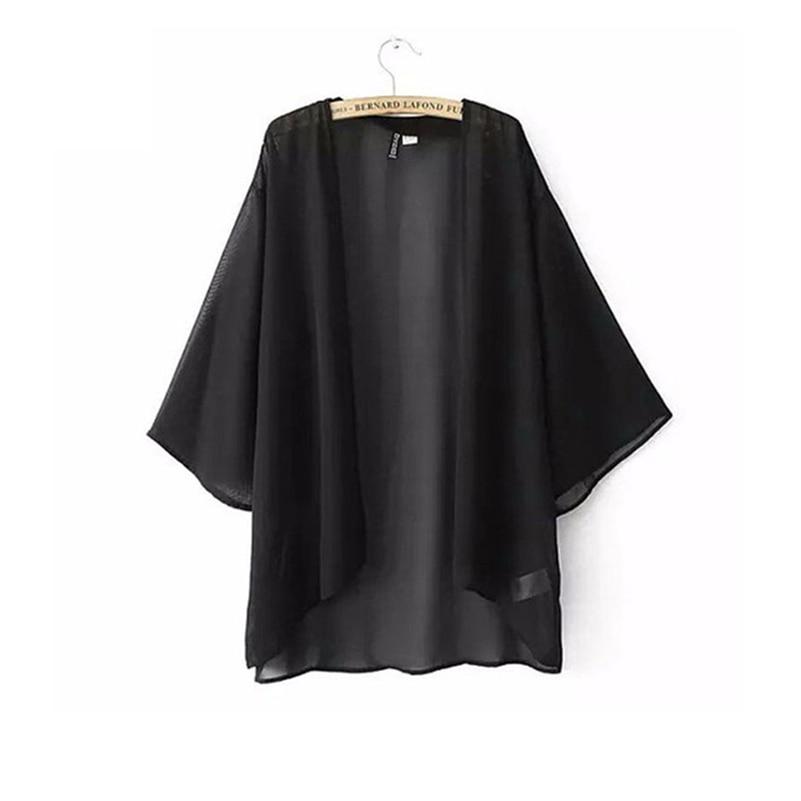 Chiffon Kimono Cardigan Casual 3/4 Batwing Sleeve Loose ...