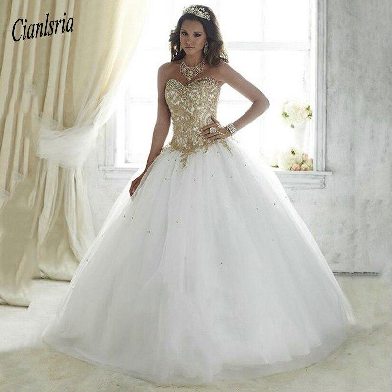 802b48ec85f Красивые Vestidos De 15 Anos Белый дебютантка бальное платье кружево для 15  лет Дешевые Золотые Аппликации