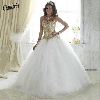 0c70c6002 Hermosa Vestidos De 15 años blanco vestido De baile encaje vestido De 15  años De oro barato apliques Vestidos De quinceañera 2019
