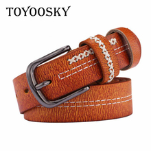 TOYOOSKY Genuine Leather Women Belts Brown Fashion Vintage Retro for Jeans Designer High Quality